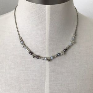 BRIGHTON  9.25 silver necklace real Perl